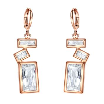 Fancy Amazing Magical Abstract Lucky Charms Gold-Tone Princess Baguette Crystal Amulet Earrings