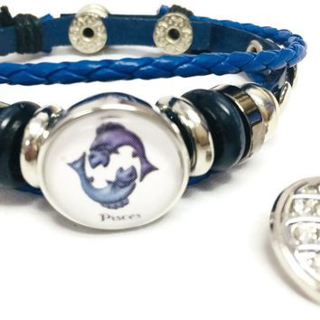 Horoscope Zodiac Pisces Sign Snap Blue Leather Bracelet  With Bonus Extra 18MM - 20MM Charm For New Item