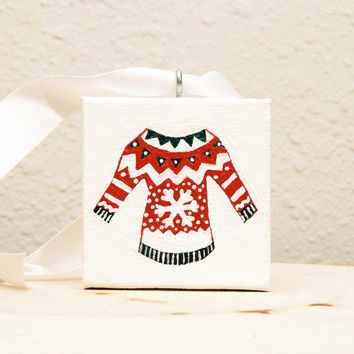 Red Christmas Sweater Tree Ornament, Handmade Miniature Art Holiday Decor, Ugly Christmas Sweater with Gift Box
