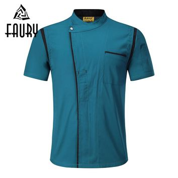 Unisex Short Sleeve Mesh Patchwork Breathable Stitching Color Food Service Cafe Waiter Work Wear Chef Jackets Uniforms Aprons