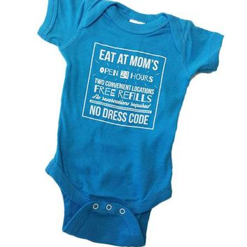 Eat At Mom's Baby Onesuit in Blue Raspberry