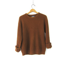 90s Plain Rust Brown Ribbed Shirt Baggy Long Sleeve Top Basic Copper Cotton Ribbed Knit Jumper Boho Hipster Vintage Womens Small