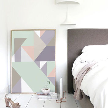 Abstract Print Poster, Pastel Print Poster, Geometric Print Poster, Minimalist Poster, Triangles Print, Pastel Wall Art, Pastel Abstract.