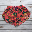 Coral Colored Floral Mini Shorts