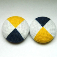 Button Earrings Triangles Dark Blue- Yellow- White Abstract