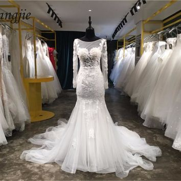 Custom Made Lace and Applique Wedding Dresses 2018 Long Sleeve Scoop Button Court Train Mermaid Bride Gowns 2018 Robe De Mariage