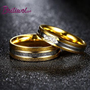 2017 Fashion Gold-color Engagement Rings Titanium Couple Wedding Jewelry Valentines Day Engraved Name Gifts Ring Set