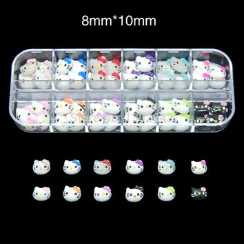 R010  60pcs/Set  3d hello kitty cat nail art accessories rhinestone resin bow for nails mix box packing are choice