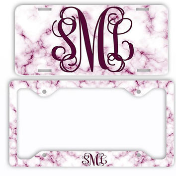 White Purple Marble Look License Plate Car Tag Monogram Frame Personalized Set Custom Initials Car Coasters Magenta