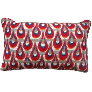 Teardrop Red Tribal Pillow