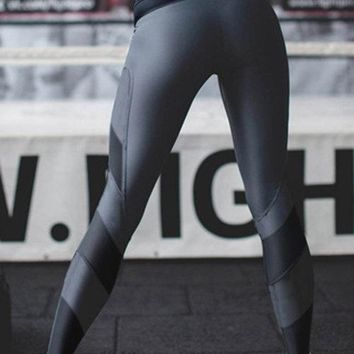 Active Stitching Quick Drying Elastic Waist Sports Leggings in Grey
