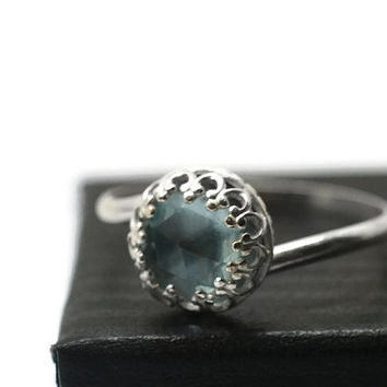 Sky Blue Topaz Ring, Sterling Silver Jewelry, Artisan Gemstone Ring, Cocktail Ring, Topaz Jewelry