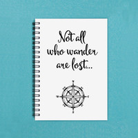 "Travel journal - Not All Who Wander Are Lost - 5"" x 7"" Journal, notebook, diary, sketch book, memory book, scrapbook, trip, vacation, travel"