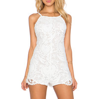 STONE_COLD_FOX Ryder Romper in White Lace