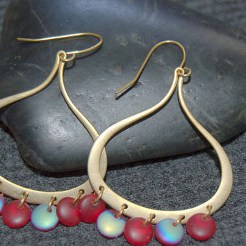 gold chandelier earrings, gold teardrop earrings, red bead earrings, gold dangle earrings