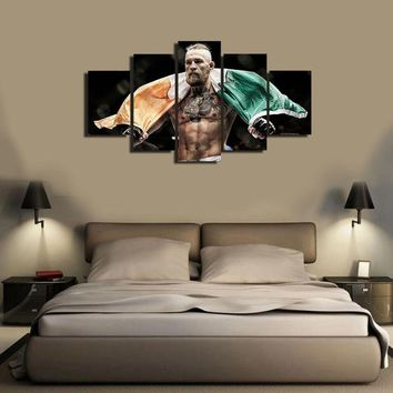 2017 JIE DO ART Without Framed 5 Pcs Large HD Print Oil Painting On Canvas Conor McGregor  Irish Flag Sports Poster Wall Art Gam