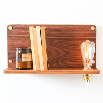 Ledge Lamp (Large)- Wooden Shelf, Edison Bulb Lamp