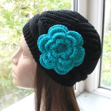 Hand Knit Hat - Winter hat - fashion -1920s  Victorian black   Hat -    womens hat - Winter Accessories turquoise flower