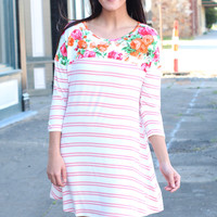 Perfect Mix Florals + Stripes Dress {Blush}