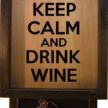 "Wooden Shadow Box Wine Cork Holder with Corkscrew 9""x15"" - Keep Calm and Drink Wine with Glass"