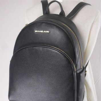 DCCKW7H MICHAEL KORS ABBEY LEATHER LARGE MK BACKPACK SCHOOL BOOK BAG BLACK NWT