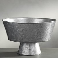 Galvanized Footed Serve Bowl