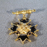 Vintage Yellow Gold Dangling Pin Brooch with Crest/Cross Shape Design, Black Enameling and Flear-de-lis Center  B
