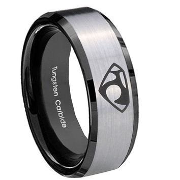 10mm House of Van Beveled Edges Brushed Silver Black Tungsten Wedding Band Mens