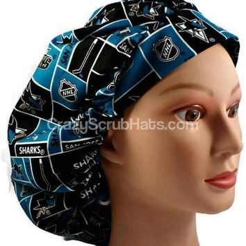 Women's Bouffant, Pixie, or Ponytail Surgical Scrub Hat Cap in San Jose Sharks
