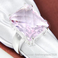 925 silver rose quartz crystal ring Jewelry #7 #8 #9 R0238