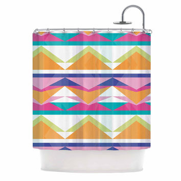"Miranda Mol ""Triangle Waves"" Geometric Pattern Shower Curtain"