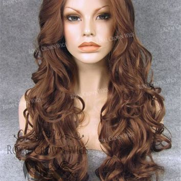 """26"""" Heat Safe Synthetic Lace Front in Curly Texture """"Calypso"""" in Reddish Brown"""