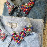 Vintage hand-beaded collars slim denim shirt [158]