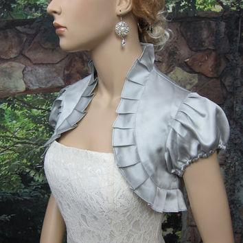 Silver short sleeve satin wedding bolero jacket by alexbridal