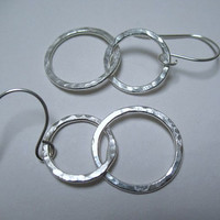 Silver Hoop Earrings Sterling Silver Jewelry Double Hoop