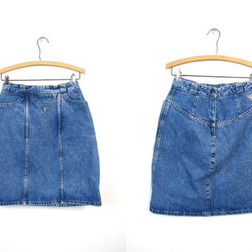 80s GUESS Jean Skirt High Waist Denim Mini Skirt 1980s Hipster Womens Miniskirt Grunge 90s Boho Pencil Skirt Vintage SMALL