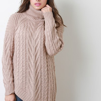 Mixed Cable Knit Turtleneck Long Sleeves Asymmetrical Hem Sweater