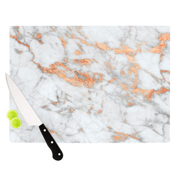 "KESS Original ""Rose Gold Flake"" White Pink Cutting Board"
