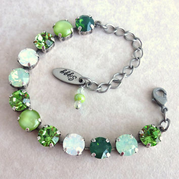 Swarovski crystal tennis bracelet- green and opal, better than sabika-GREAT PRICE