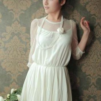 Angel of Music White Mesh Panel Accordion Pleat Dress | Sincerely Sweet Boutique