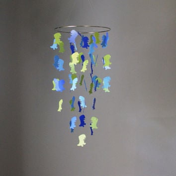 Small Blue and Green Dinosaur Chandelier Mobile