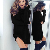 turtleneck long-sleeved sweater dress