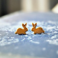 $16.00 Bunny Stud Earrings by theloveletter on Etsy