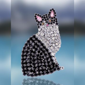 Tuxedo Cat Pin with Swarovski Crystal Stones by Albert Weiss