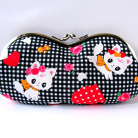 Glasses case Kawaii Cat Black White Hot pink Gingham Soft eyeglass case Sunglass case Frame purse