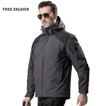 FREE SOLDIER outdoor tactical military jacket men soft shell hooded cloth windproof warmth coat for camping hunting 2 sets