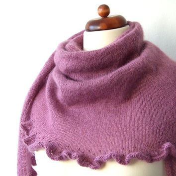 knit mohair wrap scarf purple shawl with ruffle and beads