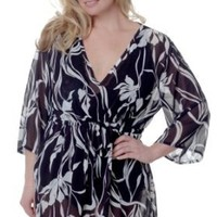So Sexy Lingerie Printed Chiffon V-Neck Nightshirt or Swim Cover-Up