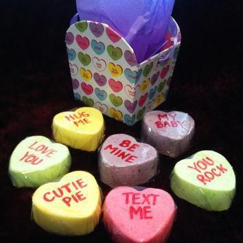 conversation heart bath candies lush fizzy valentine s day bath bomb wrapped and re