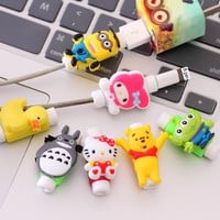 Kawaii Cartoon USB Protector De Cabo For iPhone 6S iPhone7 Case Cable Protector Cord Saver Cover Case